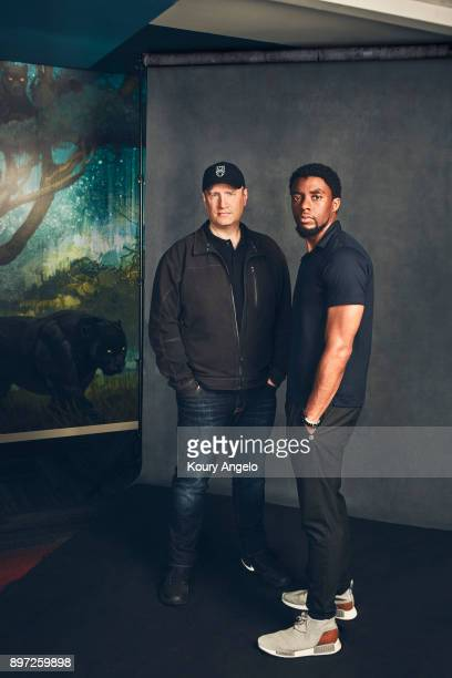 Actor Chadwick Boseman and producer Kevin Feige of 'Black Panther' are photographed for The Hollywood Reporter on June 16 2017 in Los Angeles...