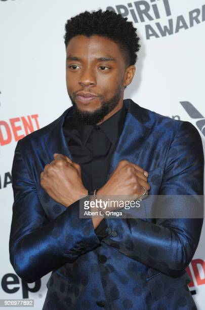 Actor Chadwick Boseman arrives for the 2018 Film Independent Spirit Awards on March 3 2018 in Santa Monica California