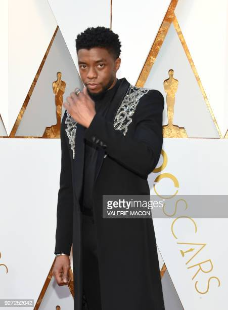 Actor Chadwick Boseman arrives for the 90th Annual Academy Awards on March 4 in Hollywood California / AFP PHOTO / VALERIE MACON
