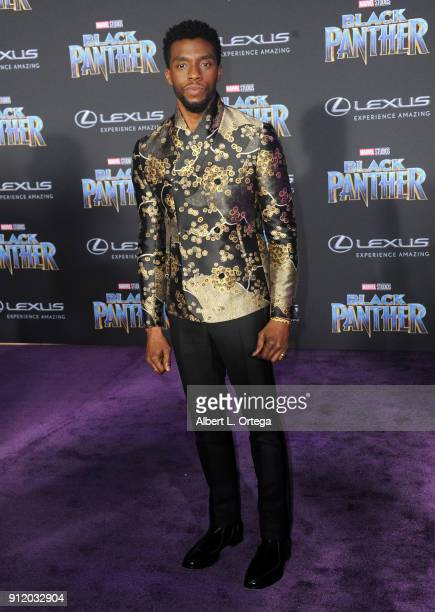 Actor Chadwick Boseman arrives for the premiere of Disney and Marvel's Black Panther held at the Dolby Theatre on January 29 2018 in Hollywood...