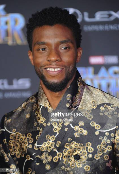 Actor Chadwick Boseman arrives for the premiere of Disney and Marvel's 'Black Panther' held at the Dolby Theatre on January 29 2018 in Hollywood...