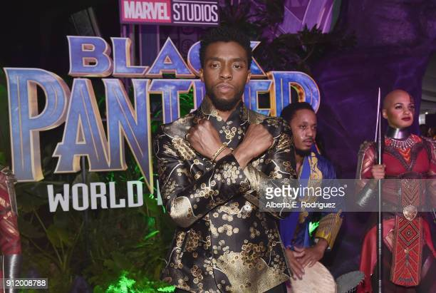 Actor Chadwick Boseman at the Los Angeles World Premiere of Marvel Studios' BLACK PANTHER at Dolby Theatre on January 29, 2018 in Hollywood,...