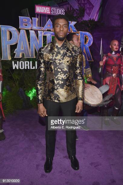 Actor Chadwick Boseman at the Los Angeles World Premiere of Marvel Studios' BLACK PANTHER at Dolby Theatre on January 29 2018 in Hollywood California