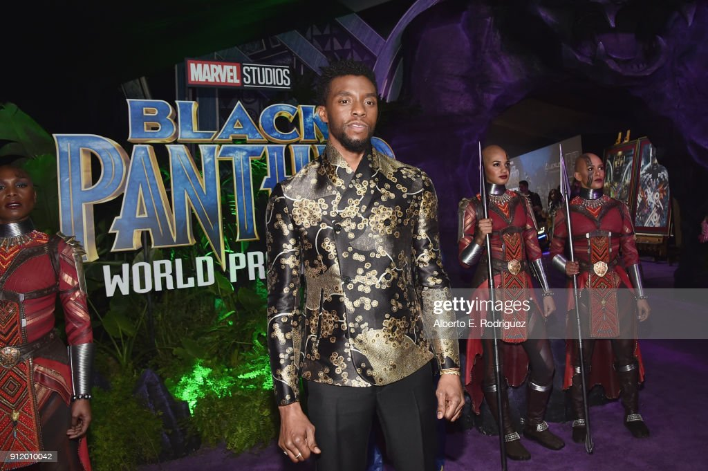 Actor Chadwick Boseman at the Los Angeles World Premiere of Marvel Studios' BLACK PANTHER at Dolby Theatre on January 29, 2018 in Hollywood, California.