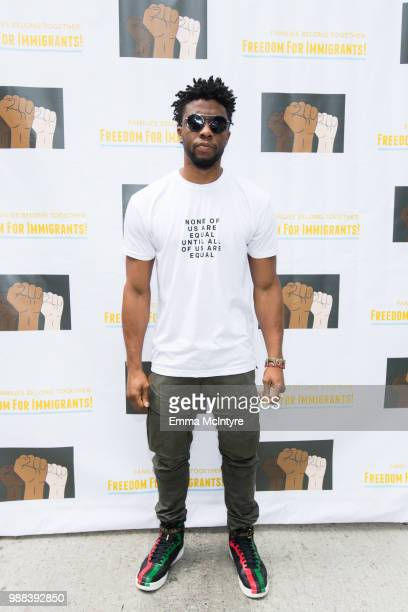 Actor Chadwick Boseman attends 'Families Belong Together Freedom for Immigrants March Los Angeles' at Los Angeles City Hall on June 30 2018 in Los...
