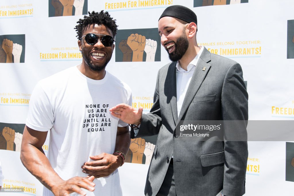 Actor Chadwick Boseman attends 'Families Belong Together - Freedom for Immigrants March Los Angeles' at Los Angeles City Hall on June 30, 2018 in Los Angeles, California.