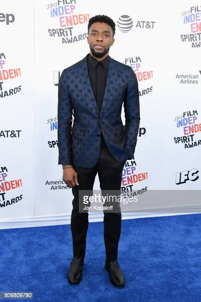 Actor Chadwick Boseman attends the 2018 Film Independent Spirit Awards on March 3 2018 in Santa Monica California