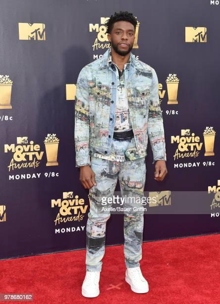 Actor Chadwick Boseman attends the 2018 MTV Movie And TV Awards at Barker Hangar on June 16 2018 in Santa Monica California