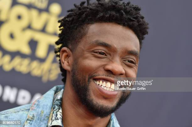 Actor Chadwick Boseman attends the 2018 MTV Movie And TV Awards at Barker Hangar on June 16 2018 in Santa Monica California