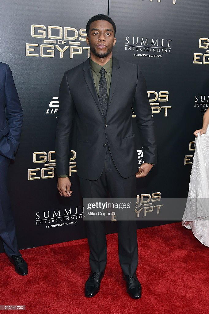Actor Chadwick Boseman attends the 'Gods Of Egypt' New York Premiere at AMC Loews Lincoln Square 13 on February 24, 2016 in New York City.