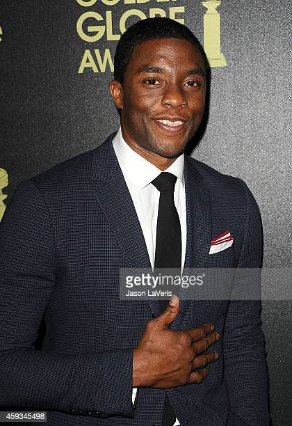 Actor Chadwick Boseman attends the Hollywood Foreign Press Association and InStyle's celebration of the 2015 Golden Globe award season at Fig Olive...