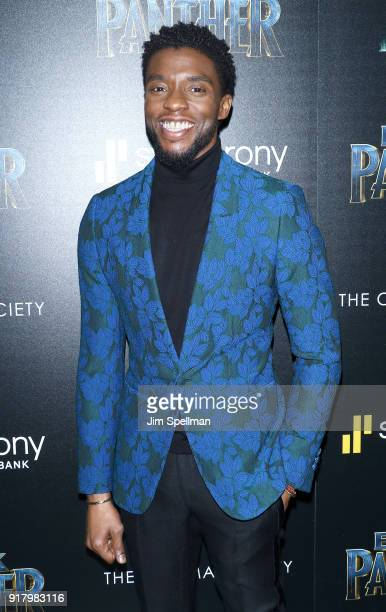 Actor Chadwick Boseman attends the screening of Marvel Studios' 'Black Panther' hosted by The Cinema Society with Ravage Wines and Synchrony at...