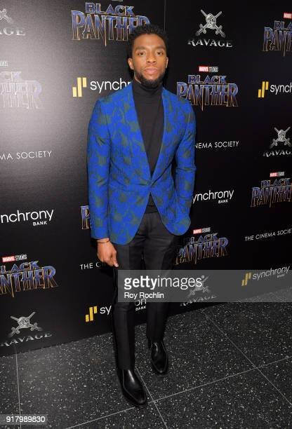 Actor Chadwick Boseman attends the screening of Marvel Studios' 'Black Panther' hosted by The Cinema Society on February 13 2018 in New York City