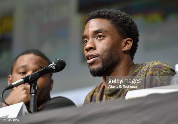 Actor Chadwick Boseman from Marvel Studios' 'Black Panther' at the San Diego ComicCon International 2017 Marvel Studios Panel in Hall H on July 22...