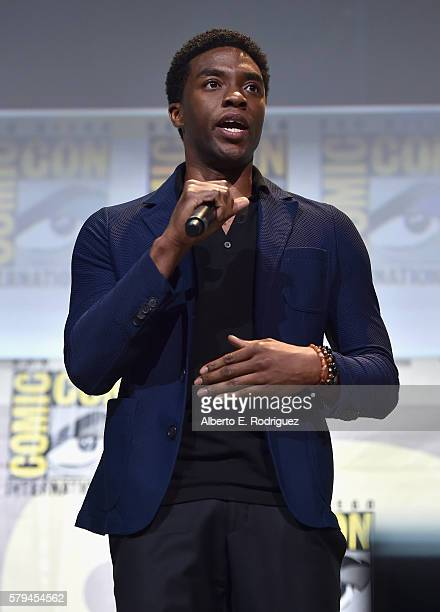 """Actor Chadwick Boseman from Marvel Studios' """"Black Panther"""" attends the San Diego Comic-Con International 2016 Marvel Panel in Hall H on July 23,..."""