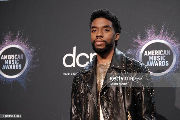 Actor Chadwick Boseman poses in the press room at the 2019 American Music Awards at Microsoft Theater on November 24, 2019 in Los Angeles, California.