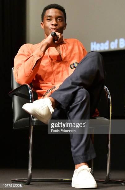 Actor Chadwick Boseman speaks onstage at MoMA Contenders 2018 Screening and QA of Black Panther at Hammer Museum on December 04 2018 in Los Angeles...