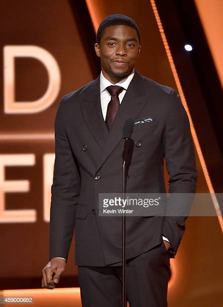 Actor Chadwick Boseman speaks onstage during the 18th Annual Hollywood Film Awards at The Palladium on November 14 2014 in Hollywood California