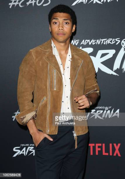 Actor Chance Perdomo attends the premiere of Netflix's Chilling Adventures Of Sabrina at the Hollywood Athletic Club on October 19 2018 in Hollywood...