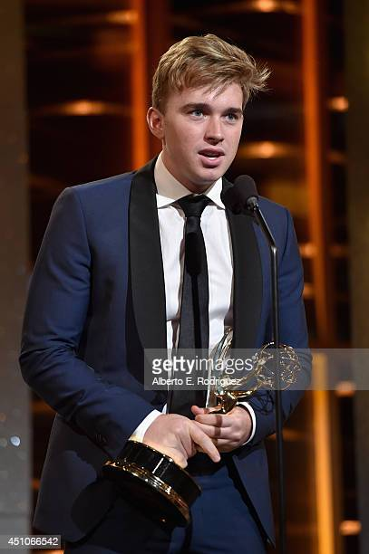 Actor Chandler Massey accepts Outstanding Younger Actor in a Drama Series for 'Days of Our Lives' onstage during The 41st Annual Daytime Emmy Awards...