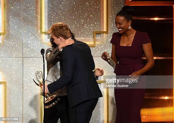 Actor Chandler Massey accepts Outstanding Younger Actor in a Drama Series for 'Days of Our Lives' from actresses Sara Gilbert and Aisha Tyler onstage...
