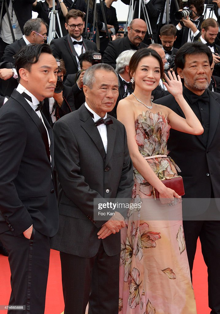 Actor Chang Chen, director Hou Hsiao-Hsien and actress Shu Qi attend the closing ceremony and Premiere of 'La Glace Et Le Ciel' ('Ice And The Sky') during the 68th annual Cannes Film Festival on May 24, 2015 in Cannes, France.