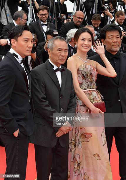 Actor Chang Chen director Hou HsiaoHsien and actress Shu Qi attend the closing ceremony and Premiere of 'La Glace Et Le Ciel' during the 68th annual...