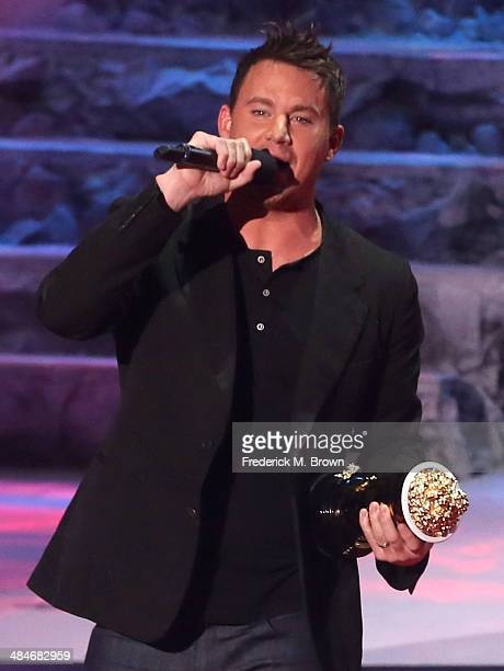 Actor Channing Tatum accepts the MTV Trailblazer Award onstage at the 2014 MTV Movie Awards at Nokia Theatre LA Live on April 13 2014 in Los Angeles...
