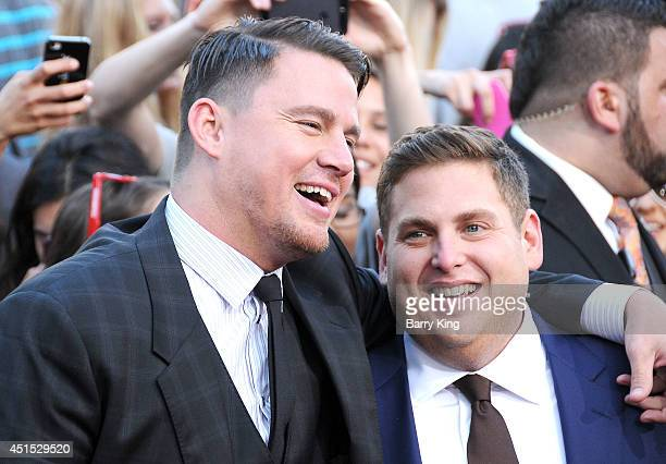 Actor Channing Tatum and actor Jonah Hill arrive at the Los Angeles Premiere '22 Jump Street' on June 10 2014 at Regency Village Theatre in Westwood...