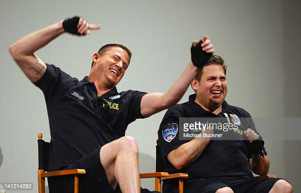Actor Channing Tatum and actor Jonah Hill attend the QA for the World Premiere of '21 Jump Street' during the 2012 SXSW Music Film Interactive...
