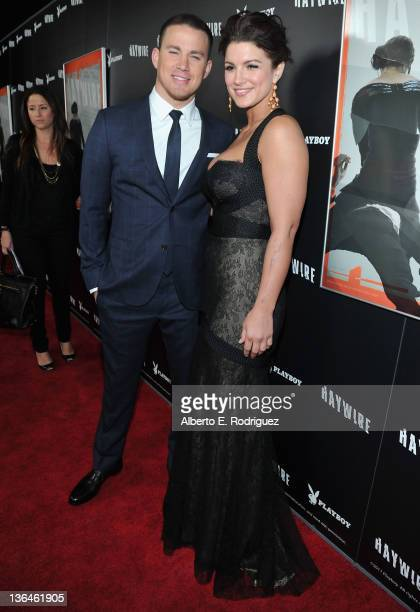 Actor Channing Tatum and actress Gina Carano arrive to the premiere of Relativity Media's Haywire at DGA Theater on January 5 2012 in Los Angeles...