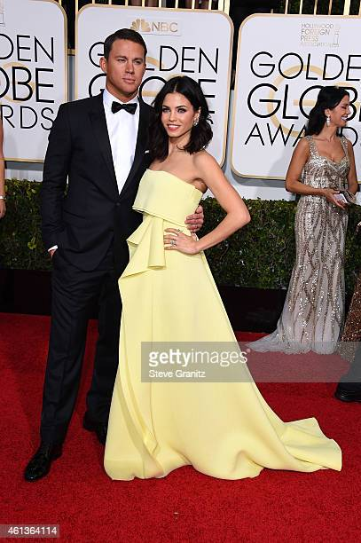 Actor Channing Tatum and actress Jenna Dewan Tatum attend the 72nd Annual Golden Globe Awards at The Beverly Hilton Hotel on January 11 2015 in...