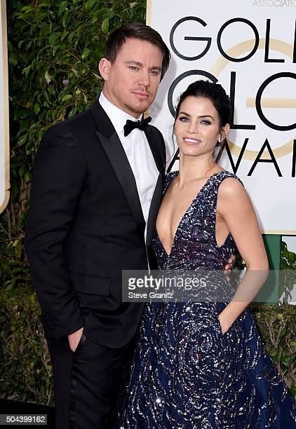 Actor Channing Tatum and actress Jenna Dewan Tatum attends the 73rd Annual Golden Globe Awards held at the Beverly Hilton Hotel on January 10 2016 in...
