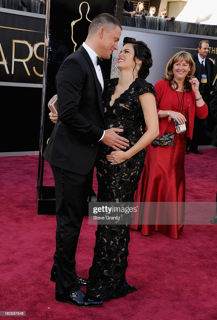 Actor Channing Tatum (L) and actress Jenna Dewan-Tatum arrives at the Oscars held at Hollywood & Highland Center on February 24, 2013 in Hollywood, California.