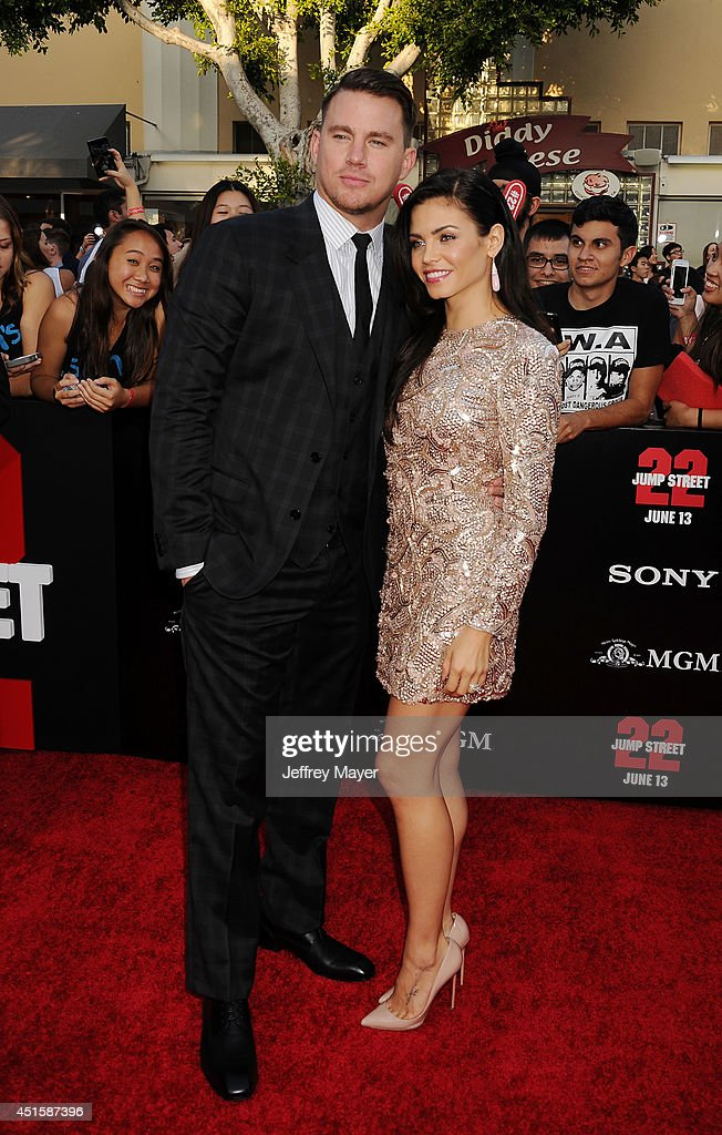 Actor Channing Tatum (L) and actress/wife Jenna Dewan-Tatum arrive at the Los Angeles premiere of '22 Jump Street' at Regency Village Theatre on June 10, 2014 in Westwood, California.