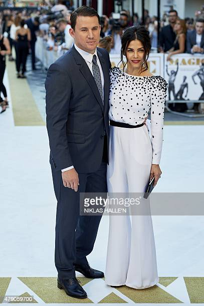 US actor Channing Tatum and his wife Jenna Dewan arrive for the European premiere of Magic Mike XXL in central London on June 30 2015 N