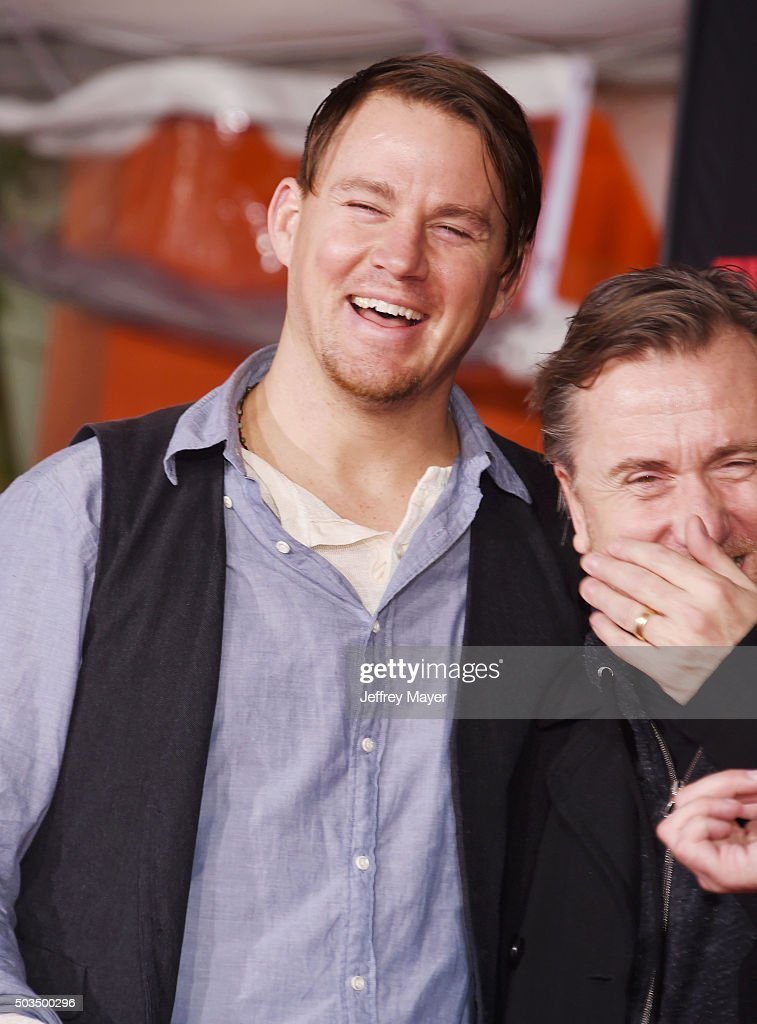 Actor Channing Tatum and Tim Roth attend the Quentin Tarantino Hand And Footprint Ceremony at the TCL Chinese Theater on January 5, 2016 in Hollywood, California.