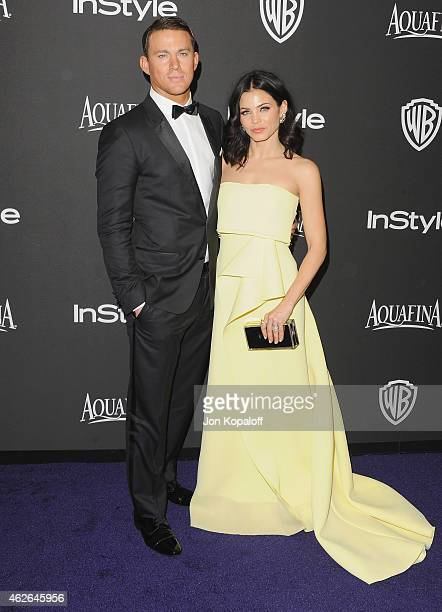 Actor Channing Tatum and wife actress Jenna Dewan Tatum arrive at the 16th Annual Warner Bros And InStyle PostGolden Globe Party at The Beverly...