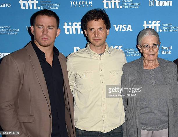 Actor Channing Tatum director Bennett Miller and actress Vanessa Redgrave pose at Foxcatcher Press Conference during the 2014 Toronto International...