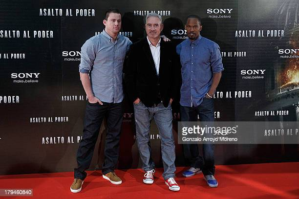 Actor Channing Tatum director Roland Emmerich and actor Jaime Foxx attend 'Asalto al Poder' Madrid Photocall at Fundacion Caja Madrid on September 4...