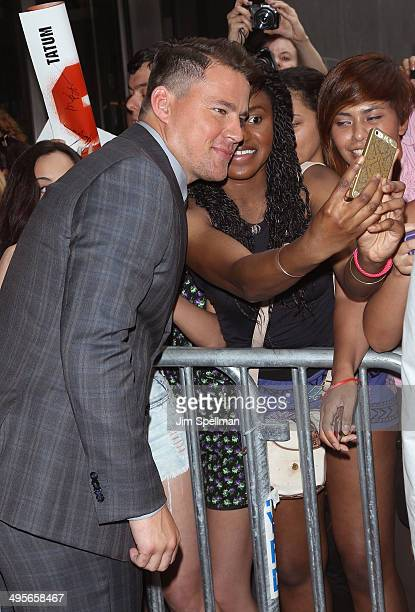 Actor Channing Tatum with fans attend the 22 Jump Street premiere at AMC Lincoln Square Theater on June 4 2014 in New York City