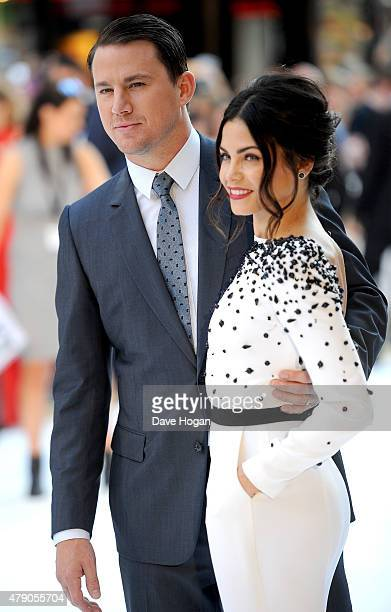 Actor Channing Tatum with his wife Jenna Dewan attend the European Premiere of 'Magic Mike XXL' at Vue West End on June 30 2015 in London England