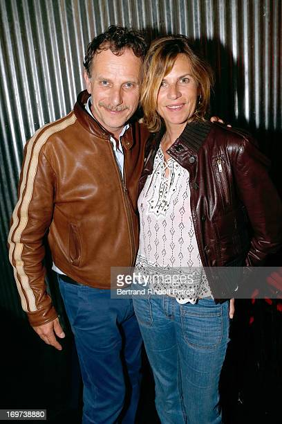 Actor Charles Berling and his wife Virginie CouperieEiffel backstage after Patrick Bruel's concert at Zenith de Paris on May 30 2013 in Paris France