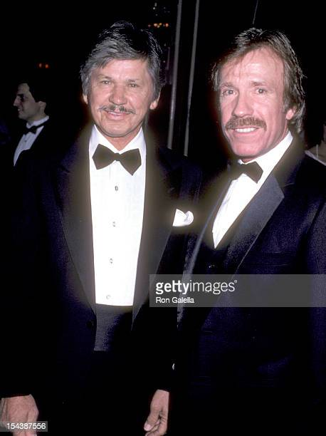 Actor Charles Bronson and actor Chuck Norris attend the Friends of Tel Hashomer's 16th Annual Sheba Humanitarian Award Dinner Honoring Menahem Golan...