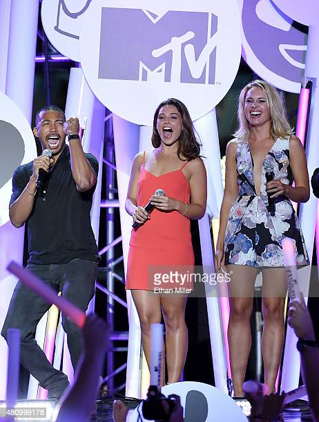 Actor Charles Michael Davis and actresses Danielle Campbell and Leah Pipes from 'The Originals' introduce a performance by All Time Low during the...