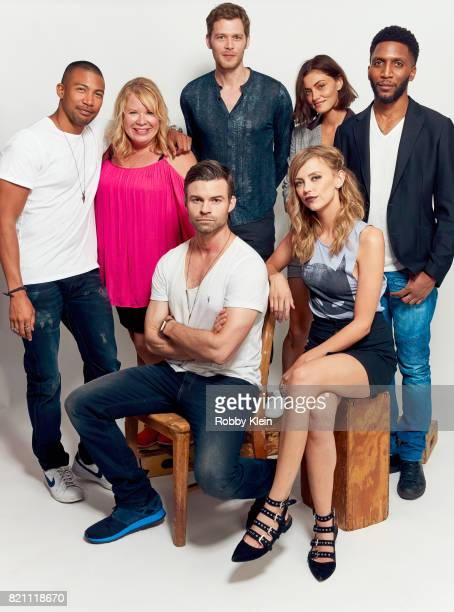 Actor Charles Michael Davis creator Julie Plec actors Joseph Morgan Phoebe Tonkin and Yusuf Gatewood and actors Daniel Gillies and Leah Pipes from...