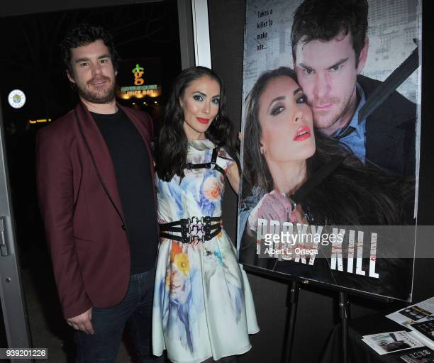 Actor Charlie Babcock and actress Mandy Amano attend the North Hollywood Cinefest Screening Of Proxy Kill held at Laemmle's NoHo 7 on March 27 2018...