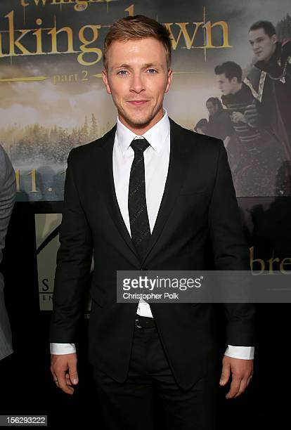 Actor Charlie Bewley arrives at the premiere of Summit Entertainment's The Twilight Saga Breaking Dawn Part 2 at Nokia Theatre LA Live on November 12...