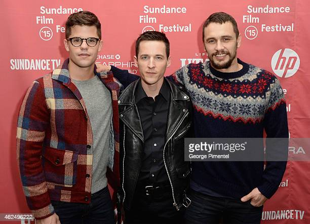 Actor Charlie Carver Director Justin Kelly and actorJames Franco attend the 'I Am Michael' Premiere during the 2015 Sundance Film Festival on January...