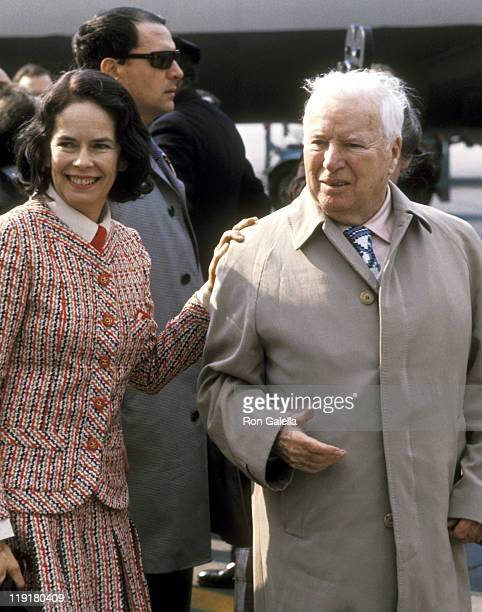 Actor Charlie Chaplin and wife Oona O'Neill Chaplin on April 7 1972 arriving at the JFK Airport in New York City New York